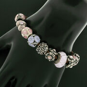 Pandora .925 Sterling Silver 6 12 Charm Pink Flower And Heart On Leather Bracelet