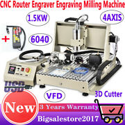 1.5kw 4axis 6040 Cnc Carving Engraving Machine Cutter Usb Mill Drill 3d Vfd + Rc