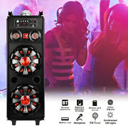 Dual 10 Rechargeable Powered Bluetooth Party Speaker Stereo System + Microphone