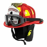 Cairns Red N6a Houston Leather Fire Helmet - Red, Medium, Nfpa Bourkes