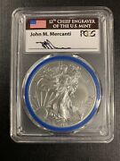 2014-w Pcgs Sp70 Burnished Silver Eagle Mint Engraver Series John Mercanti Sign.