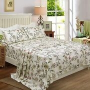 Softta Luxury Paisley Design Pattern Bed Sheets Set Flat Sheet + Fitted Sheets +