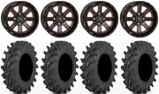 System 3 St-4 14 Wheels Red 28x9.5 Outback Max Tires Honda Foreman Rancher Sra