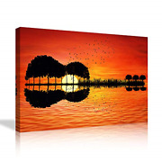 Large Music Wall Art Orange Guitar Trees Arranged In A Shape Of A Abstract On A