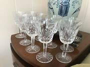 Antique Set 9 Waterford Lismore Crystal Glass White Wine Glasses 5 7/8andrdquo H X3 1/8