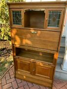 Antique Art Nouveau French Oak Barrister Bookcase W/stained Glass And Desk 1915