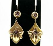 Earrings Antique Fine '800 Bourbon Kings Gold Solid 18k With Rubies Natural