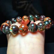 Natural Colorful Phantom Crystal Volcanic Ash Round Beads Bracelet 12mm Aaaa