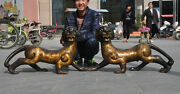 32 Chinese Fengshui Bronze Beast King Ferocious Animal Tigers Tiger Statue Pair