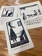 3 Eric Gill Style Christmas Cards A Trio Of Scarce Original Vintage Early 20th