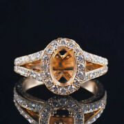 Vintage Oval 9x7mm Natural Diamond Semi Mount Ring Setting Solid 14k Yellow Gold