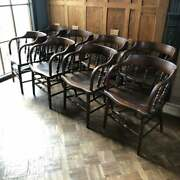 Antique Hardwood Tavern Chairs Set Of 8 Old Primitive Lodge Dining Chairs