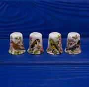 Lot Of 4 Antique England Porcelain Sewing Thimble With Birds Collectible Rare