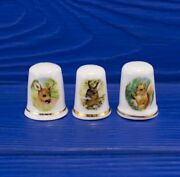Lot Of 3 Antique England Porcelain Sewing Thimble With Animals Collectible Rare