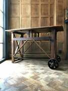 Antique Workbench Table Primitive Entryway Table Industrial Cross Braced Table