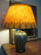 Mid-century Modern Drip Pottery Lamp With Hand-painted Shade