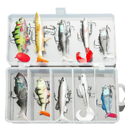 Silicone Fishing Lure Set With Box Wobblers Artificial Bait Sea Bass Worm Fish