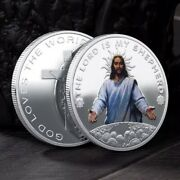 Jesus Christ - The Lord Is My Shepherd Unc Silver Plated Commemorative 40mm Coin