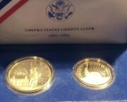 1986-s Statue Of Liberty Commemorative Silver Dollar Proof 2-coin Set With Coa