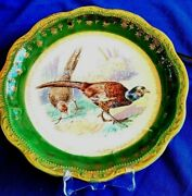 Antique Unger And Schilde Three Crown China German Game Bird Charger Plate Signed