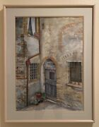 Late 20th Century Framed Realist Italy Tuscan Door Watercolor Painting