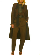 Bnwt Tre By Natalie Ratabesi Nyx Long Brown Double Breasted Coat Black Lapel