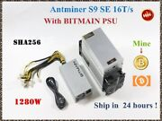 Bitmain Antminer S9 Se 16th/s With Power Supply Btc Bch Bitcoin S9 13.5t 14t S9k