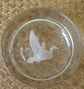 Art Glass Etched Flying Duck Goose Circular Disk Paperweight Signed Eeb Vintage