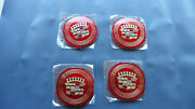 1957 57 1959 59 1960 60 Cadillac Hubcaps Center Medallions Set 4 - Red - New
