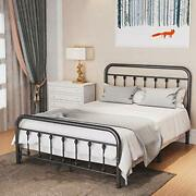 Metal Bed Frame Full Size With Vintage Headboard And Footboard, Premium Stable
