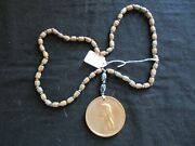 Thomas Jefferson Indian Peace Medal, Sinew Trade Bead Necklace Pe-032105353