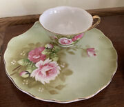 Lefton China Green Heritage Rose Snack Plates Cups 3071