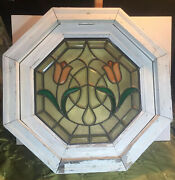 Vintage Octagonal Stained Glass Window With Original Wood Frame Tulips Rare Find