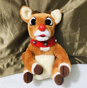Gemmy Animated 1998 Singing 12andrdquo Rudolph The Red Nosed Reindeer Stuffed Plush Htf