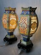 Pair Of Antique Chinese Qing Jiaqing Famille Jaune Porcelain Wedding Lanterns
