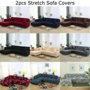 L Shape 3+3 Seaters Two-piece Sectional Sofa Covers Stretch Couch Slipcovers