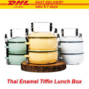 Lunch Box Thai Enamelware Tiffin Food Pinto Container Bento 2 Storey 5 In Pastel