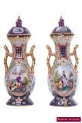 Antique Original Rare 19th Century Pair Of French Chinese Style Vases 24k Gold