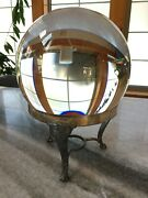 Gigantic 10 Antique Crystal Ball W/ Ornate Silver Metal Stand