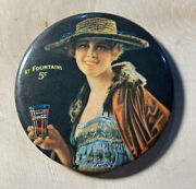 Vintage Celluloid Advertising Pocket Mirror Coca Cola Coke At Fountains 5 Cents