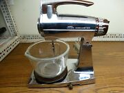 Vintage Chrome Sunbeam Mixmaster 12 Speed Stand Mixer Small Bowl And 1 Beater