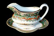 Stunning Vintage Yt Decorated In Hong Kong Famille Rose Gravy Boat And Tray