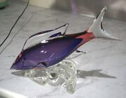 A Stunning Vintage Murano Large Glass Fish In Shades Of Purple