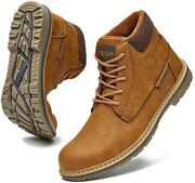Cc-los Menand039s Non-slip Leather Warm Boots Water Resistant Outdoor Shoes Fur Lined