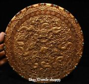 8and039and039 Old China Bronze 24k Gold Inlay Gem 12 Zodiac Fengshui Dragon Dragons Box