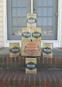 Vintage Eveready Prestone Antifreeze 6 Gallon Tin Cans In Box Case Gas And Oil