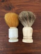 Lot Of Vintage Shaving Brush Ever- Ready Pure Badger And Marble Handle Lot Of 2