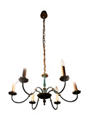 Art Nouveau Object Brass Gold Plated Ceiling Lamp Chandelier 49 3/16in