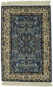 Hand-knotted Teal Blue Floral Design Kirman 2x3 Small Oriental Rug Decor Carpet