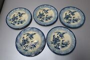 Set Of 5 Vintage / Antique Hand Painted 6 1/2 Plates Made In Japan Blue Ducks